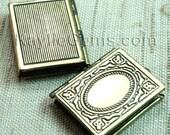 Book Shaped Locket Pendants Antique Brass - LKBK-104AB - 4pcs