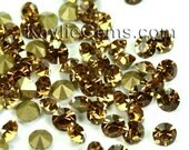 Rhinestone Chaton SS6 / 2mm SS8.5 /2.5mm, SS12/3mm, SS14/3.5mm, SS16 /4mm) Pointed back Foiled - Topaz -72 pcs