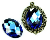 Oval 18x25 Mirror Glass Cabochon Cab Faceted Checker Cut Dome - Sapphire- 2pcs