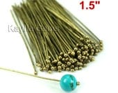 Headpins Ball Tip Head End Antique Brass 38mm 1.5 inches 22 Gauge - 50pcs