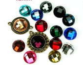 Mirror Glass Cabochon Cab Round 12mm Checker Cut Faceted Dome -Pick Your Colors- 6pcs