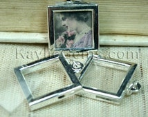Picture Frame Charm Pendant Earring Drop Rectagle Square 17x17mm - Silver - 2 Sets