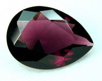 Glass Jewel 18x25mm Tear Drop Faceted Diamond Cut, Pointed Back, Unfoiled - Garent Purple 1pc