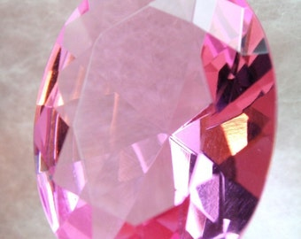 Large 30x22mm Oval Faceted Diamond Cut Glass Jewel - Pink BR108 - 1pc