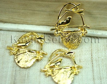 6pcs Gold Bird Sitting on Nest Charm Pendant