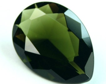 Glass Jewel 18x25mm Tear Drop Faceted Diamond Cut Pointed Back, Unfoiled - Dark Olive BZ09 - 1 pc