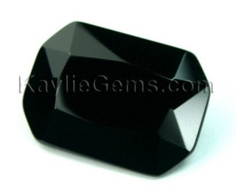 1pc Glass Jewel Octagon 18x25mm Faceted Diamond Cut Pointed Back Unfoiled -Jet Black BH10