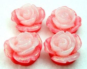 Resin Glittered Rose Flower Cabochons 20mm - Red White - 4pcs