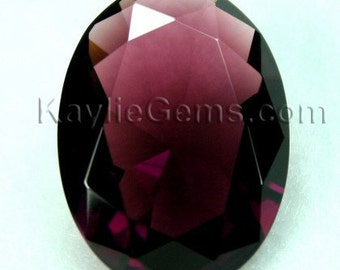 1pc 30x22mm Oval Large Faceted Diamond Cut Pointed Back Unfoiled - Garnet / Amethyst BR15