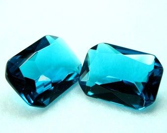 Glass Jewel 18x25mm Octagon Faceted Diamond Cut, Pointed Back, Unfoiled - Blue Zircon BA322 - 1pc
