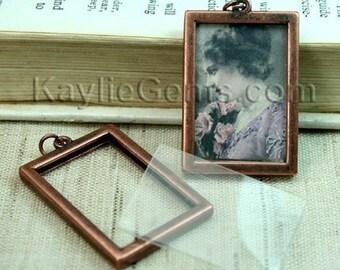 Picture Frame Charm Pendant Double Sided Rectangle Portrait 34x24mm - Antique Copper - 2 Sets