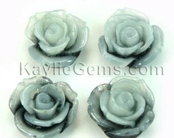Resin Rose Flower Cabochons 20mm -Black White - 4pcs