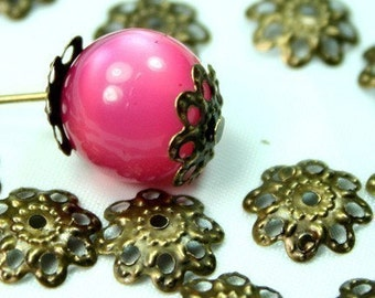 Nickle Free Antique Bronze Bead Caps - 100pcs