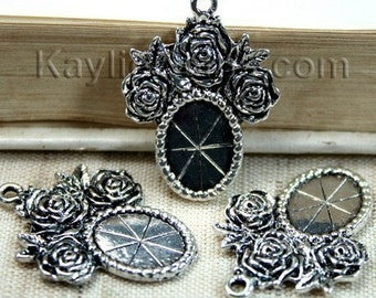 Cameo 10x14 Setting Frame Antique Silver Rose Victorian Style -FRM-FC5AB - 4ps