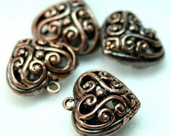 Heart Charms Antique Copper Filigree Victorian Lacy Foral -4pcs
