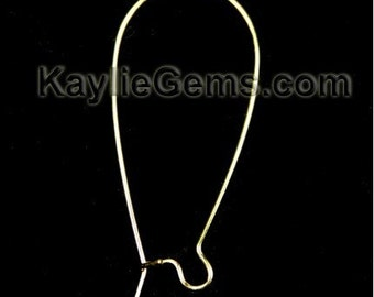 Kidney Earwires Gold Plated 18x40mm (1.50 inches Long) Elongated, Large - 24pcs