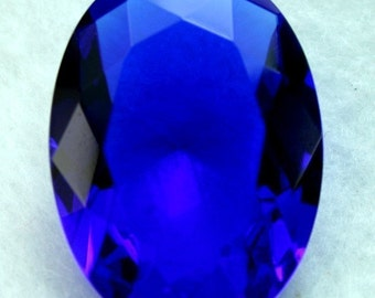 Oval 30x22 Glass Jewel Faceted Diamond Cut Pointed Back Unfoiled - Sapphire Blue BA202 - 1 Piece