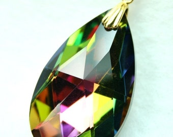 With Bail 38x22mm Crystal Faceted Tear Drop Pendant Electroplated in Brilliant Metallic Multi-colors