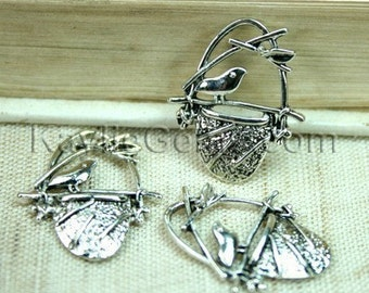 6pcs Antique Silver Bird Sitting on Nest Charm Pendant