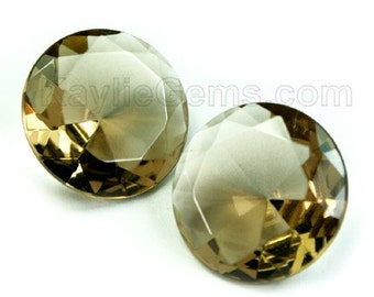 Glass Jewel Round  20mm Faceted Diamond Cut Pointed Back Unfoiled - Golden Shadow BX11 - 1 pc