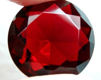 Glass Jewel 25mm Round Faceted Diamond Cut, Pointed, Unfoiled -  Wine Red BR105 - 1pc