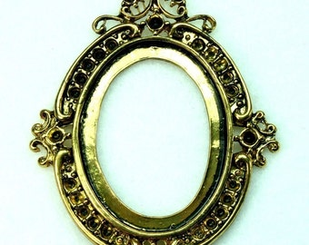 Antique Gold Cameo Setting Frame Vicatorian Rhinestone Embellish - FRM-5831AG - 2 pcs