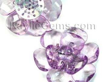 Large 40mm Decorative Focal Acrylic Flower Pendant- Lavender - 2pcs