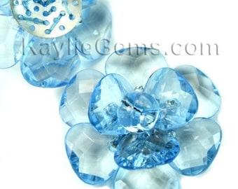Large 40mm Decorative Focal Acrylic Flower Pendant- Blue 2 pcs