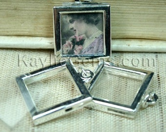 picture frame charm pendant earring drop rectagle square 17x17mm silver 2 sets