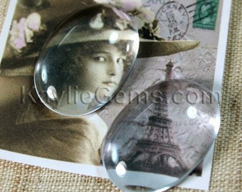 Premium Calibrated Clear Glass Cabochon Oval 25x18mm1 18x13 Flat Back Dome Top Hand Cut - BV18 - 1pc