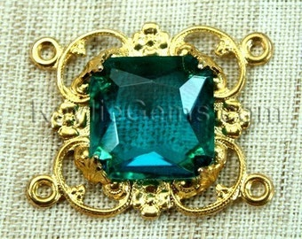 Victorian Filigree Focal Connector Raw Brass Octagon Square Jewel  15mm- Green Blue Indicolite