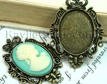 Cameo Pin Frame Base Pendant Antique Brass Crown Victorian Rhinestone Embellish -FRM-3314AB --4pcs
