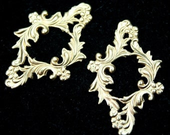 4pcs Filigree Stamping Raw Brass Victorian Floral Made in USA - G6196RB
