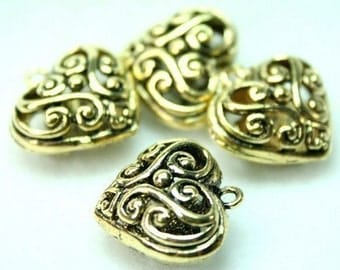 Antique Gold Filigree Heart Charms Drops Lacy Floral - 4pcs
