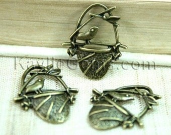6pcs Antique Brass Bird Sitting on Nest Charm Pendant