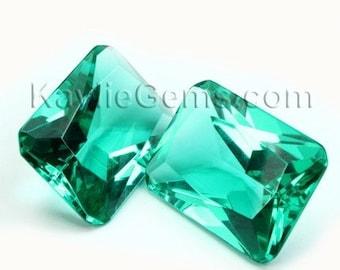 18x25mm Octagon Glass Jewel Faceted Diamond Cut Pointed Back Unfoiled - Chrysolite BG07 - 1 pc