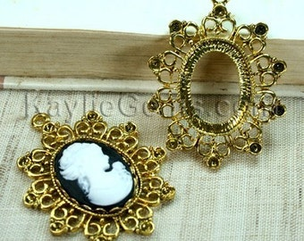 4pcs Antique Gold Cameo Cab Setting Frames Rhinestone Embellished FRM-5824