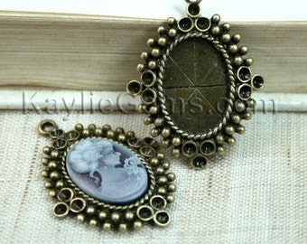 Cameo Setting Frame 18x13 Antique Brass Rhinestone Embellish  -FRM-3114AB - 4pcs