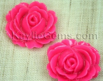 Resin Peony Rose Flower Cabochon Cabs 26mm  - Dark Rose - 4 pcs