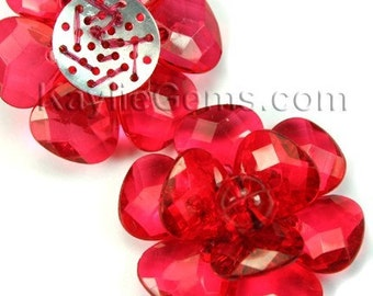 Large 40mm Decorative Focal Acrylic Flower Pendant- Red - 2pcs