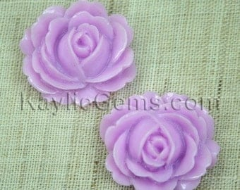 4 Resin Peony Rose Flower Cabochon Cabs 26mm  - Lavender