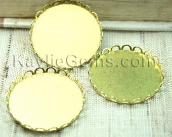 Raw Brass 26mm Fit 25mm Cab Cameo Round Lace Edge Cup Setting Base -4pcs