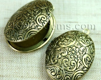 Lockets Oval Antique Brass Floral Victorian Style   -  LKOS-L3AB - 4 pcs