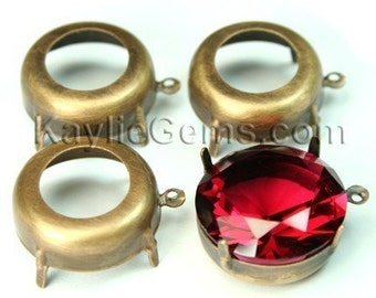 20mm Round Oxidized Antique Brass Open Back Prong Settings with 1 Loop/Ring - 4pcs