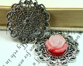 Round Antique Silver Victorian Style Filigree Connector, Cameo Cabochon Base -FRM-3038AS -4pcs