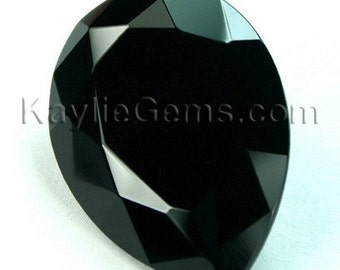 Glass Jewel 18x25mm TearDrop Faceted Diamond Cut Pointed Back, Unfoiled - Jat Black BH10 - 1 Piece