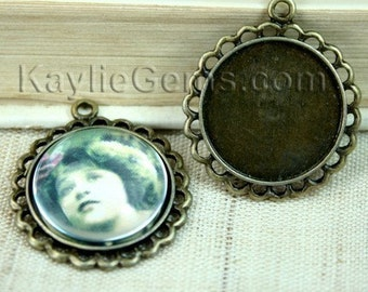 Round 25mm Fits 20mm Cameo Cabochon Setting Frame Pendant Antique Brass  -FRM-9759AB-4pcs
