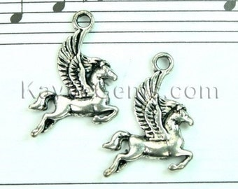 Antique Silver Winged Flying Horse Pegasus Charms / Pendants / Earring Drops 6pcs