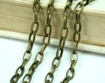 6Ft  Antique Brass Oval 4x6.5mm Cross Link Cable Chains