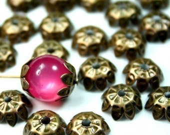 Nickle Free Antique Bronze Bead Caps - 30pcs